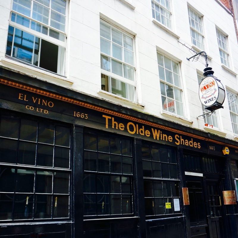 The Olde Wine Shades, EC4R  The Olde Wine Shades is one of London's oldest pubs, having been built in 1663 and survived the Great Fire.