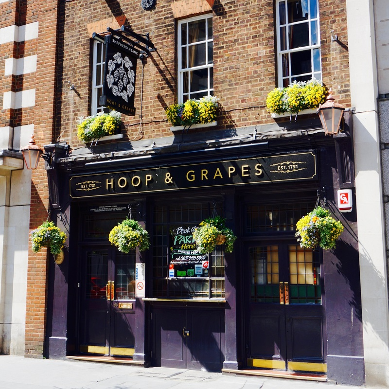 Hoop & Grapes, EC4A  The Hoop and Grapes dates from 1721 and is a Grade II listed building. The pub was the location for secret 'Fleet' weddings during the 18th century. Originally opposite the Fleet prison, through a legal loophole secret weddings could be carried out away from the homes of the participants and without bands.
