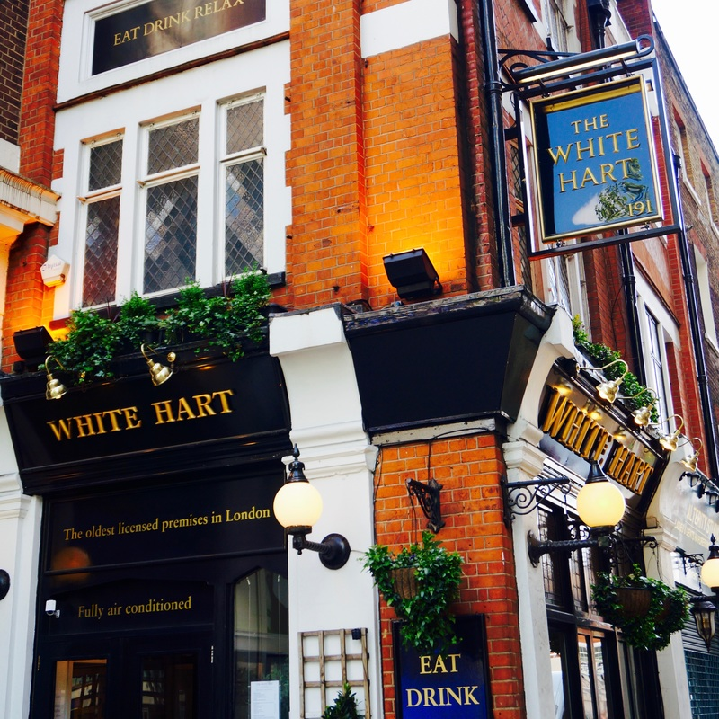 The White Hart, WC2B  Records show a licensed premises has been on the site of The White Hart since 1216, with the name 'The Whyte Hart' being the name of the pubs since the 15th century.