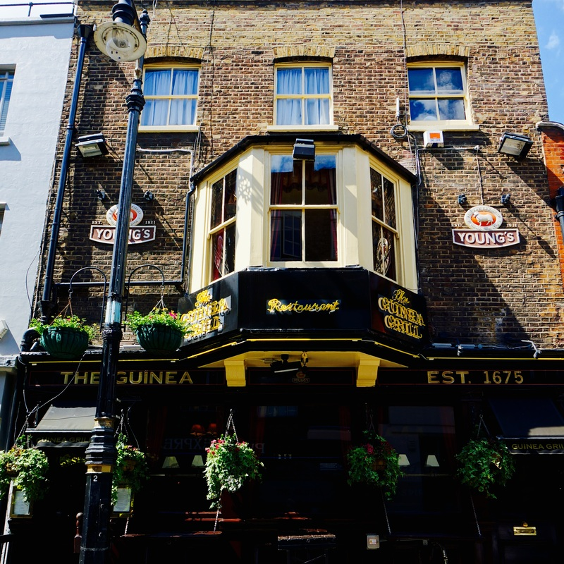 The Guinea, W1J  There has been an inn on the site of The Guinea since 1423 and at that time the area would have been open fields and farm land as London didn't extend beyond Westminster.