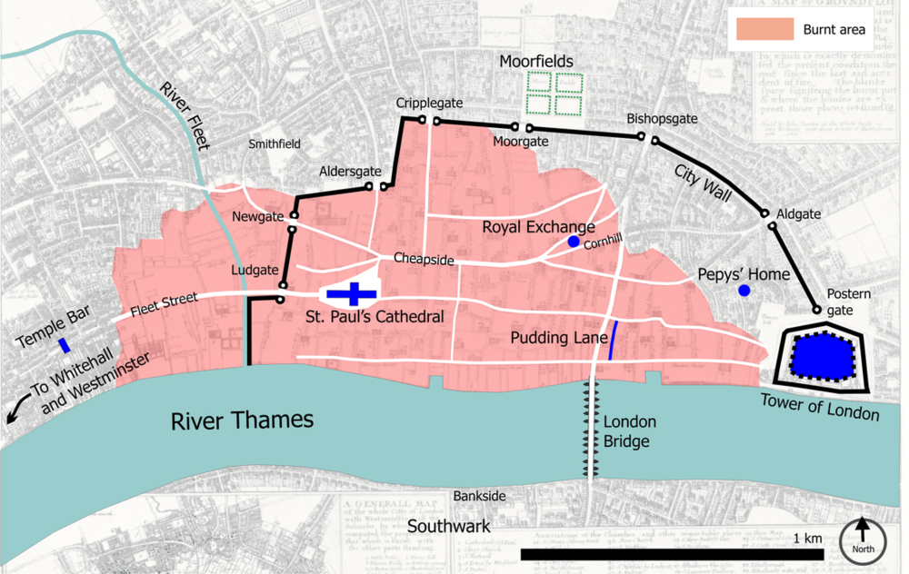 London 1666 (burnt area is shown in pink).