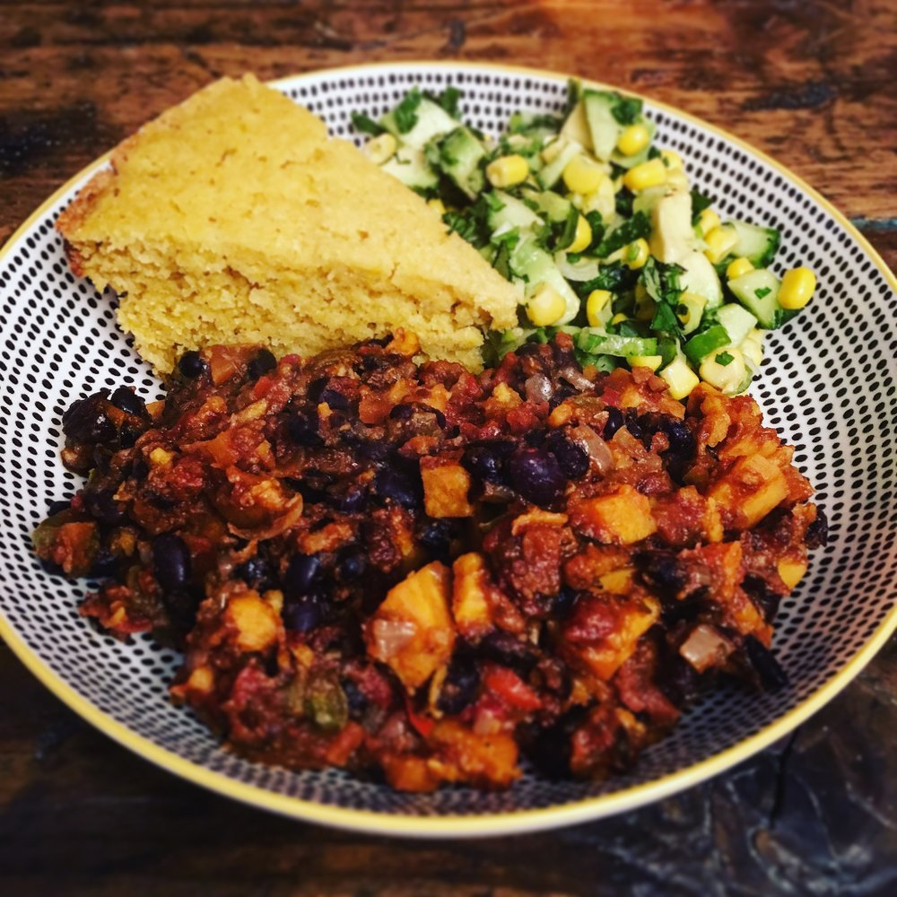 Sweet Potato and Black Bean Chilli with Slow Cooker Cornbread and Sweetcorn Salsa.JPG