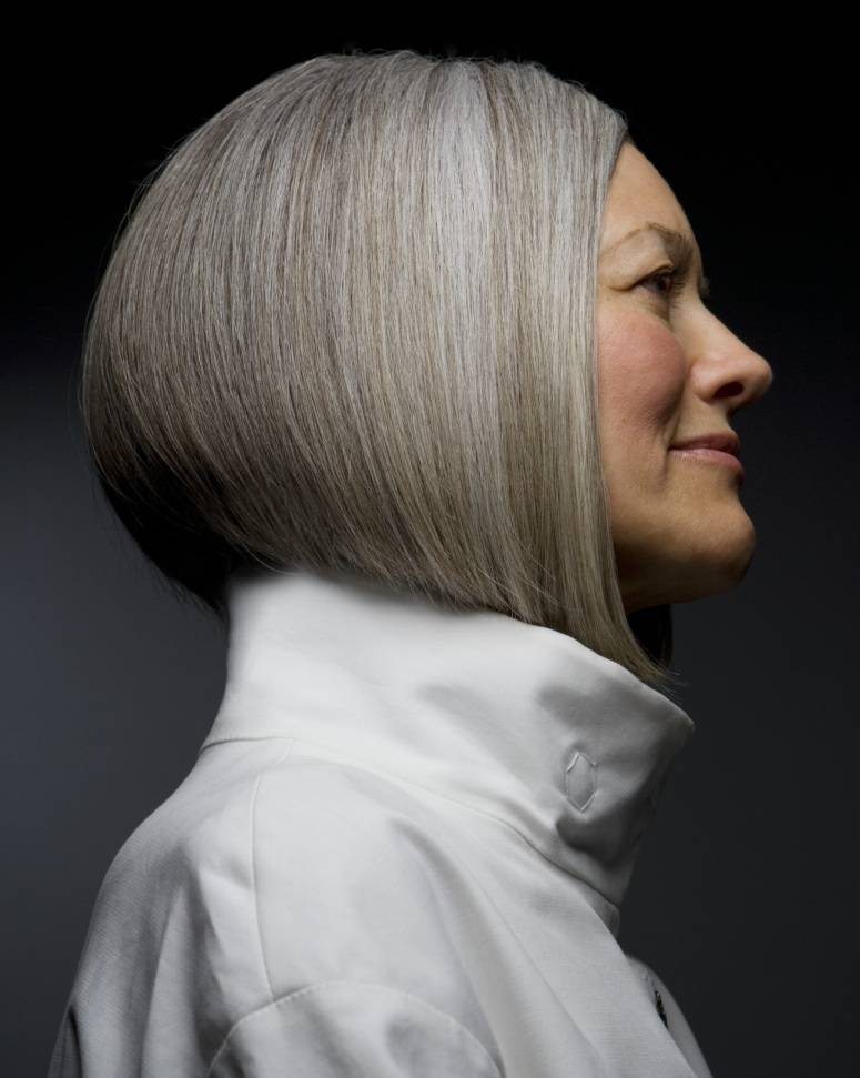 Bob length grey hair is stunning and elegant