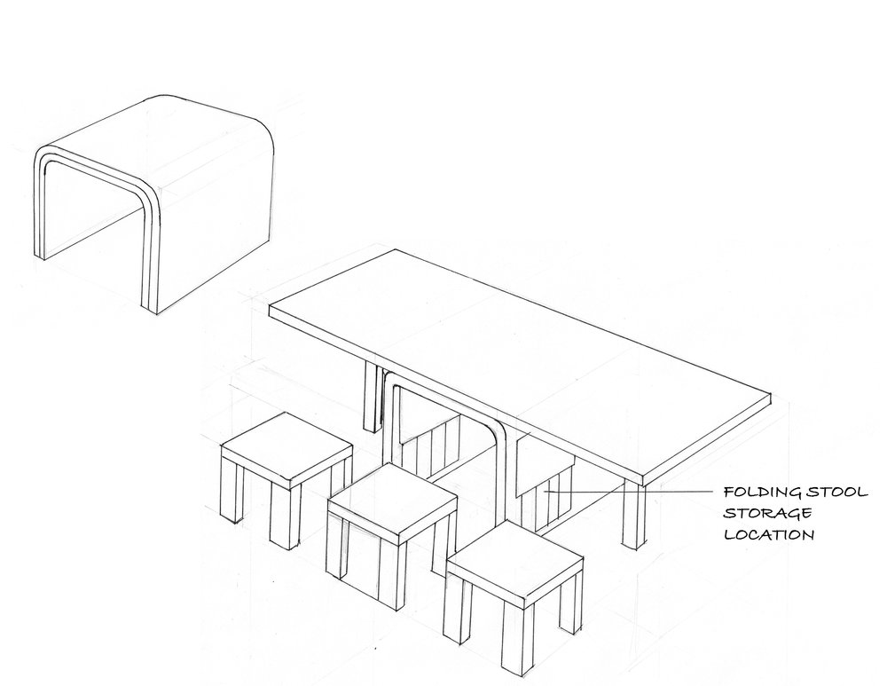 An expandable dining table that stores additional seats
