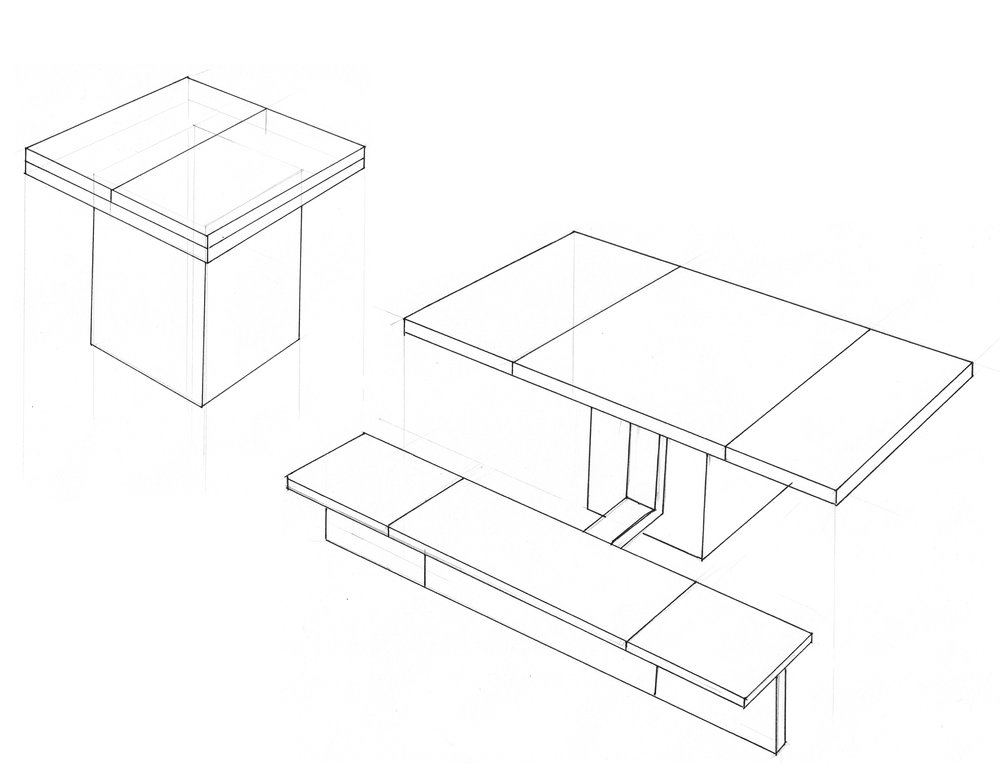 An expandable dining table with built-in benches