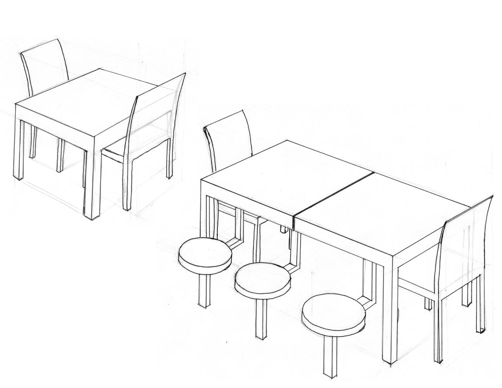 An expandable dining table with built-in seats