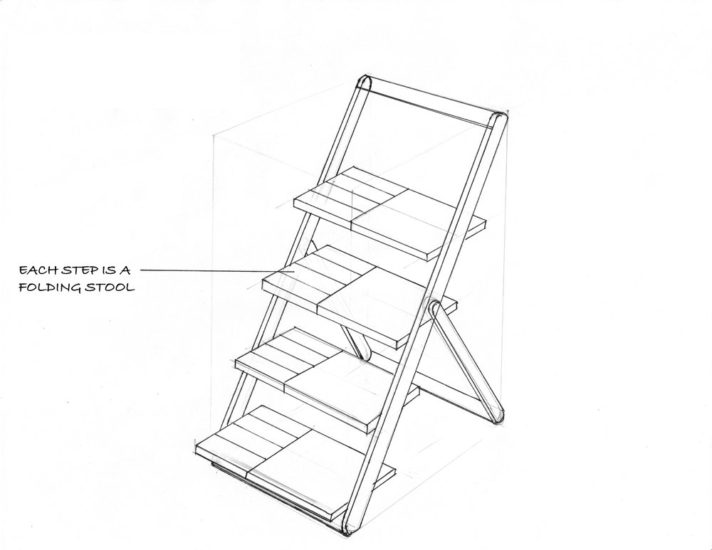 A ladder that stores folding stools