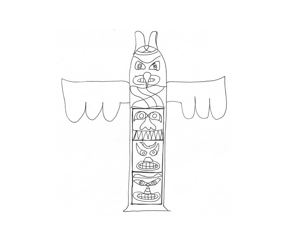 A totem pole that stores stools