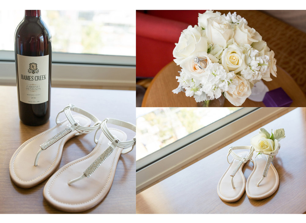 Shoes, a bottle of wine, flowers, and rings.