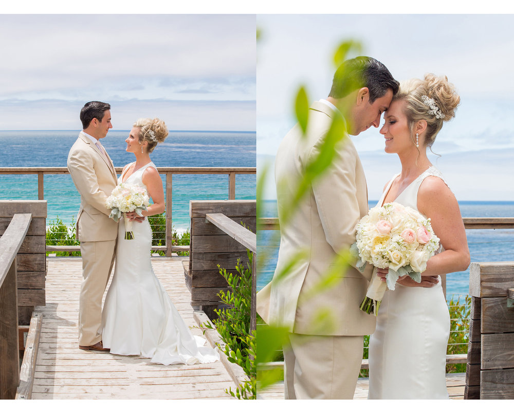 the bride and groom together by the ocean.