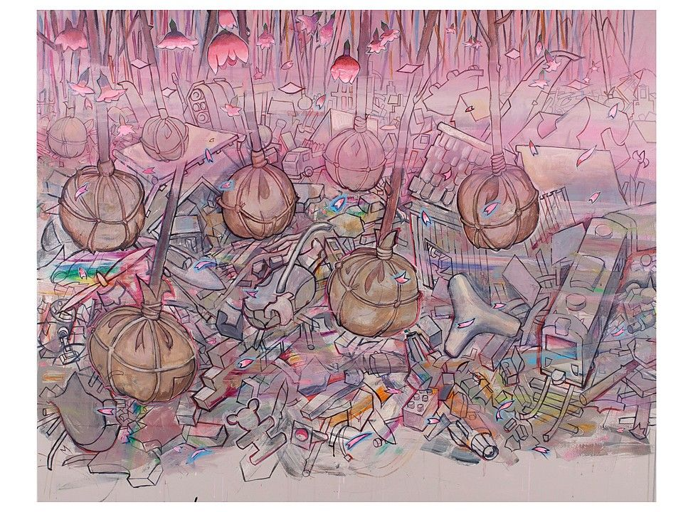 "Hiro Sakaguchi, Preparation for Spring, 2013, Acrylic on canvas, 47""x 59"", Courtesy of Seraphin Gallery"