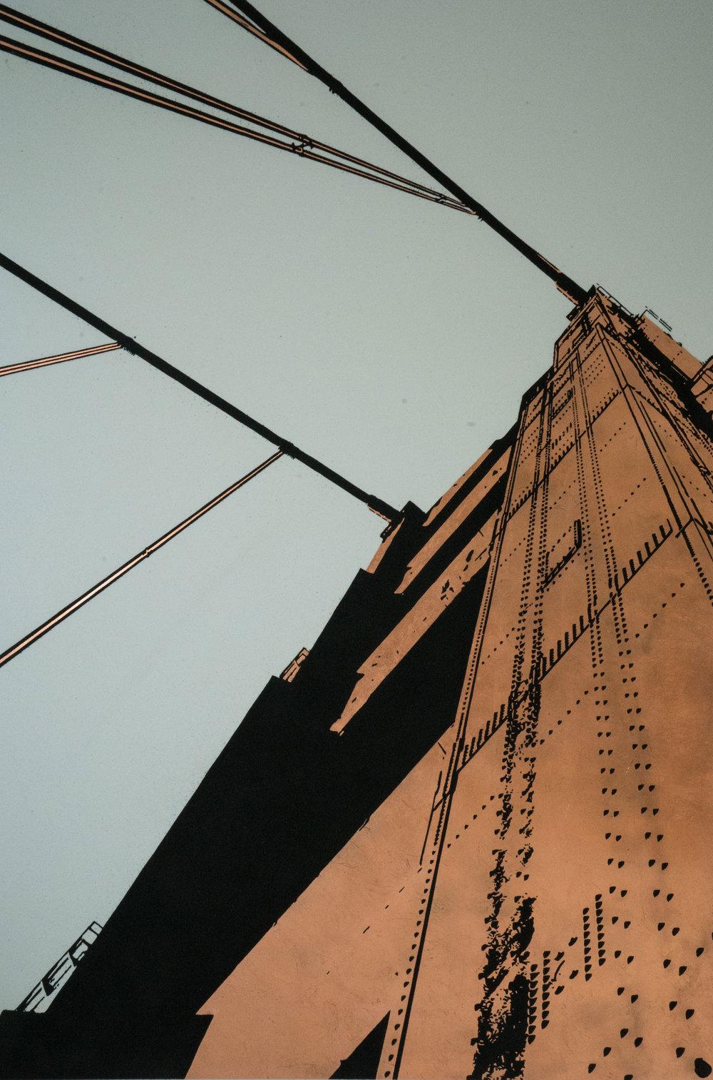 Tim Bengel,  Golden Gate Bridge , 2017, Black Sand, White Sand, Copper, Adhesive, Varnish on Aluminium Panel 79.53h x 53.15w in, Courtesy HG Contemporary