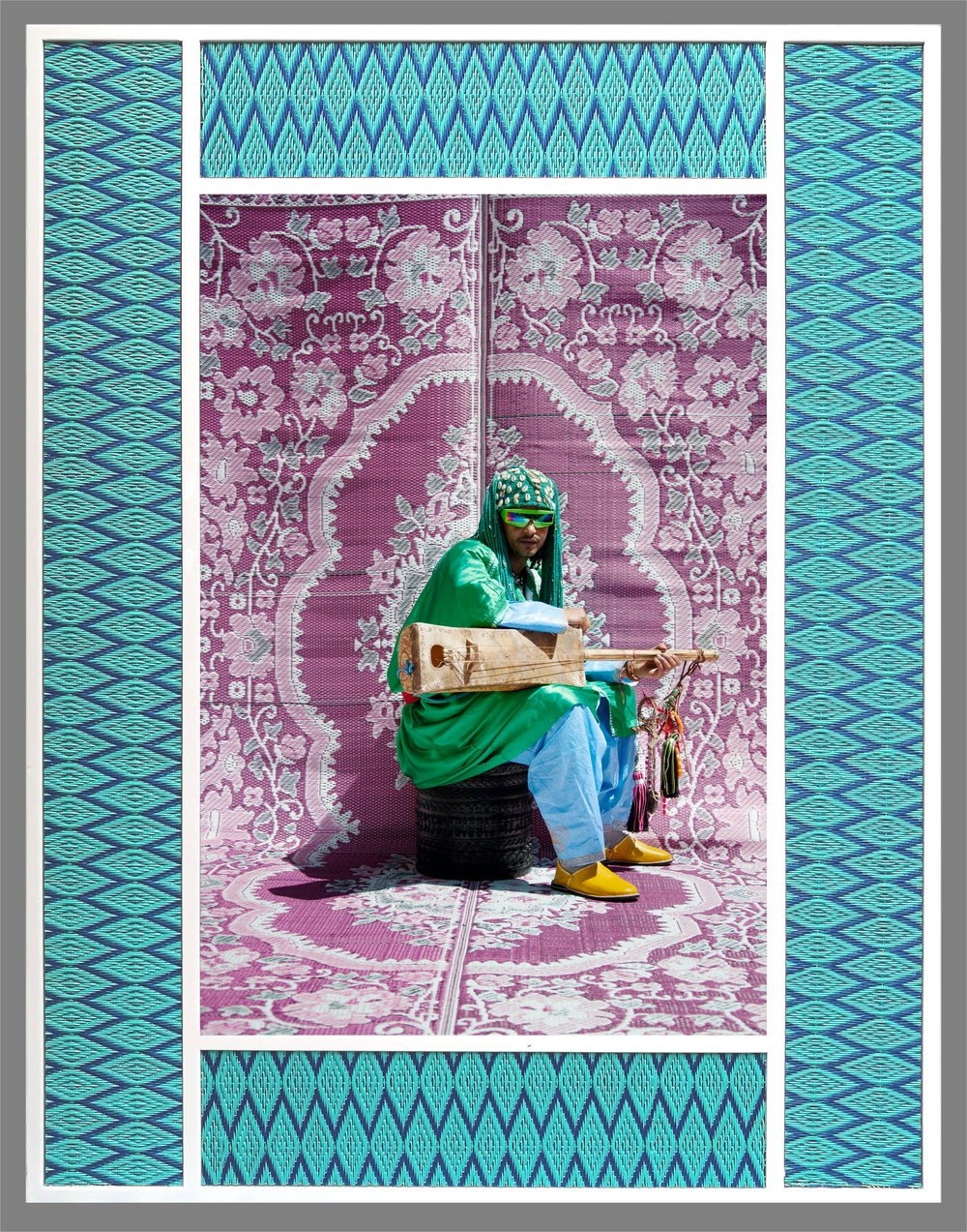Hassan Hajjaj,  Maalem Simo Lagnawi , 2010, 19 x 28.5 in.Metallic lambda print on dibond with wood and plastic matImage, Courtesy of the artist and Aicon Gallery, New York