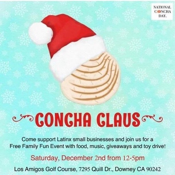 Mark your Calendars Everyone 🎄 Because Karina @vivaloscupcakes  Alicia  @aliciasdelicias  And I @raggedytiff 💃🏼💃🏽💃🏽 .  Will be part of @concha.con  Concha 🎅🏽 Claus Event  Taking place  Saturday Dec 2nd 2017  From 12-5pm (Family Friendly & Free Event) At Los Amigos Golf Course in Downey , Ca ( details on flyer )  Come join the Fun with early Xmas 🎄 Shopping from local artist , food and musica !  Toy Drive & Giveaways !  You don't want to miss out .  We will be representing & having a booth  @nationalconchaday  Come meet us and spread awareness through our #nationalconchaday campaign.  Brought to you by  @concha.con  Sponsors : @nationalconchaday  Flyer : @crystal_domi