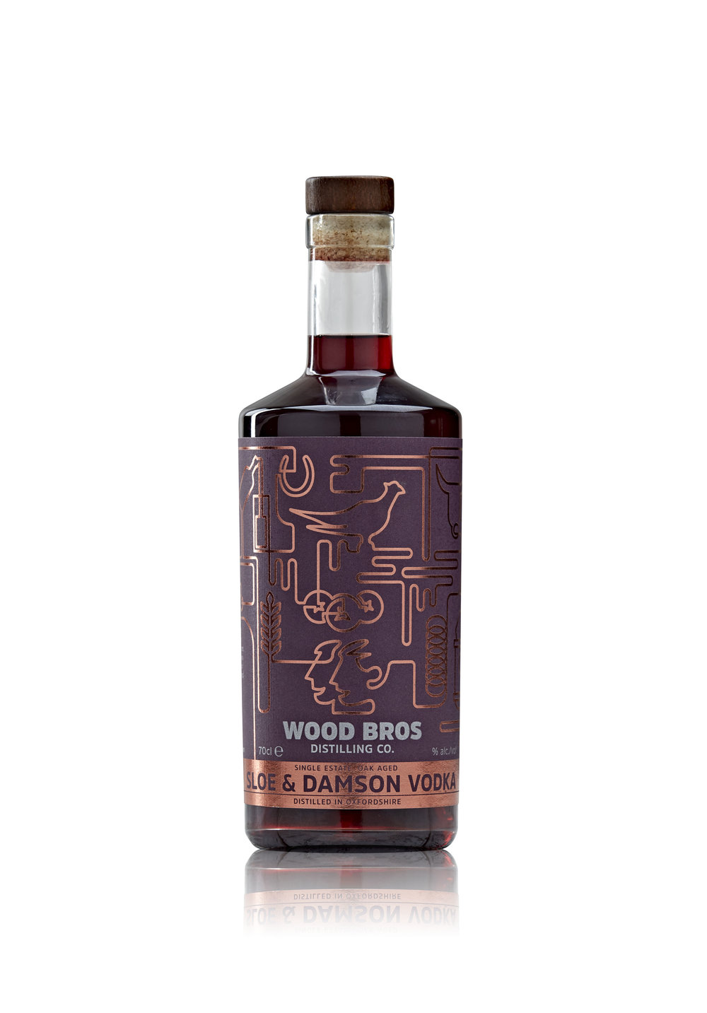 Sloe and Damson Vodka - Wood Brothers Sloe and Damson Vodka liqueur is made with sloes and damsons foraged from the hedgerows on our farm, stepped in our winter wheat vodka and aged in barrels.
