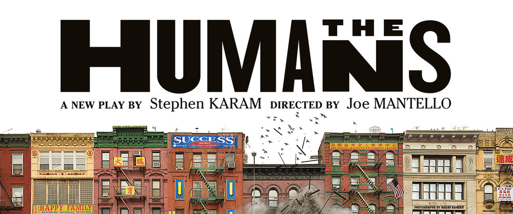"""Image description: at top, white background with black text reads - """"The Humans"""" a new play by Stephen Karam directed by Joe Mantello. Spanning the bottom is photo of Chinatown buildings lining a street. The central building is collapsing and a pile of debris rises and pigeons fly up from the roof."""