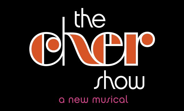 """Image description: Show logo graphic, white and orange text with slanting curves reads """"the cher show"""", underneath pink text reads """"a new musical""""; black background."""