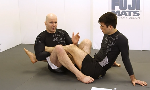"""John Danaher caught midway through explaining that for his kohai, escaping this position is """"shockingly difficult""""."""