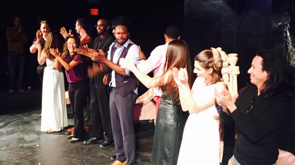 Curtain call on opening night of THE TRAGEDY: A COMEDY. From left to right: Jason Ryan Lovett, Kim Hamilton, Garrett Mercer, Tina Huang, me, Ahmed Best, Malcolm Barrett, Brandon Scott, Julie Bersani, Claudia Doumit, Roland Ruiz.