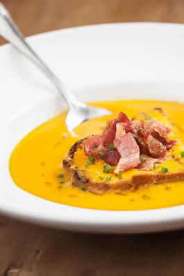 Butternut Squash Soup with Smokey Bacon and Maple Syrup