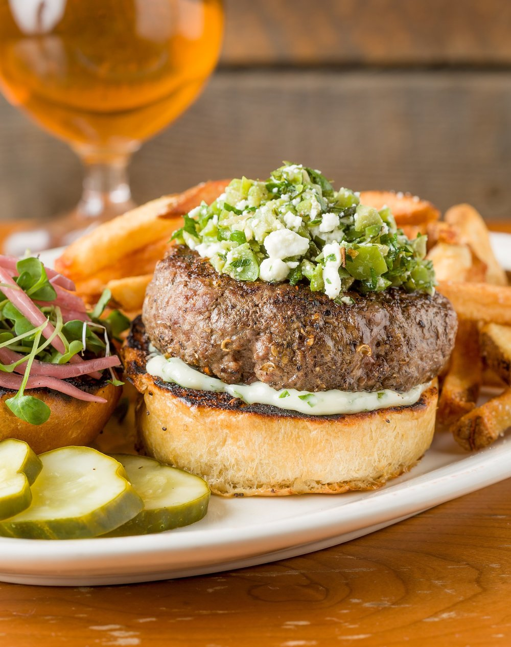 Spiced Vermont Lamb Burgers with Olive Relish and Herb Yogurt