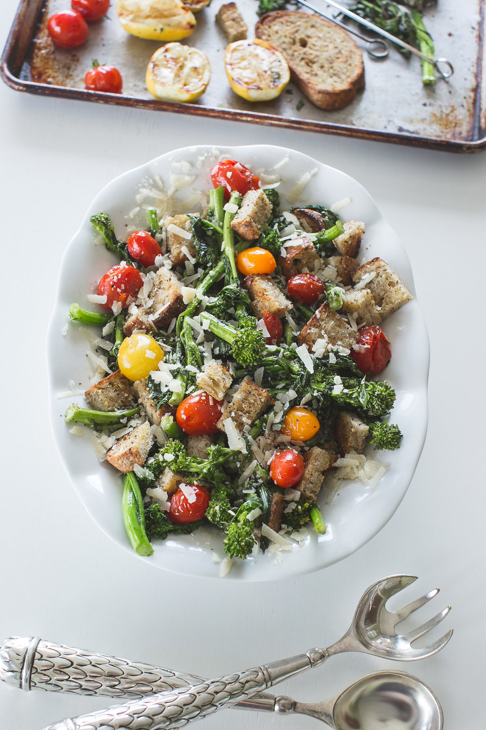 Grilled Bread Salad with Broccoli Rabe, Cherry Tomatoes, and Parmigiano Reggiano Cheese