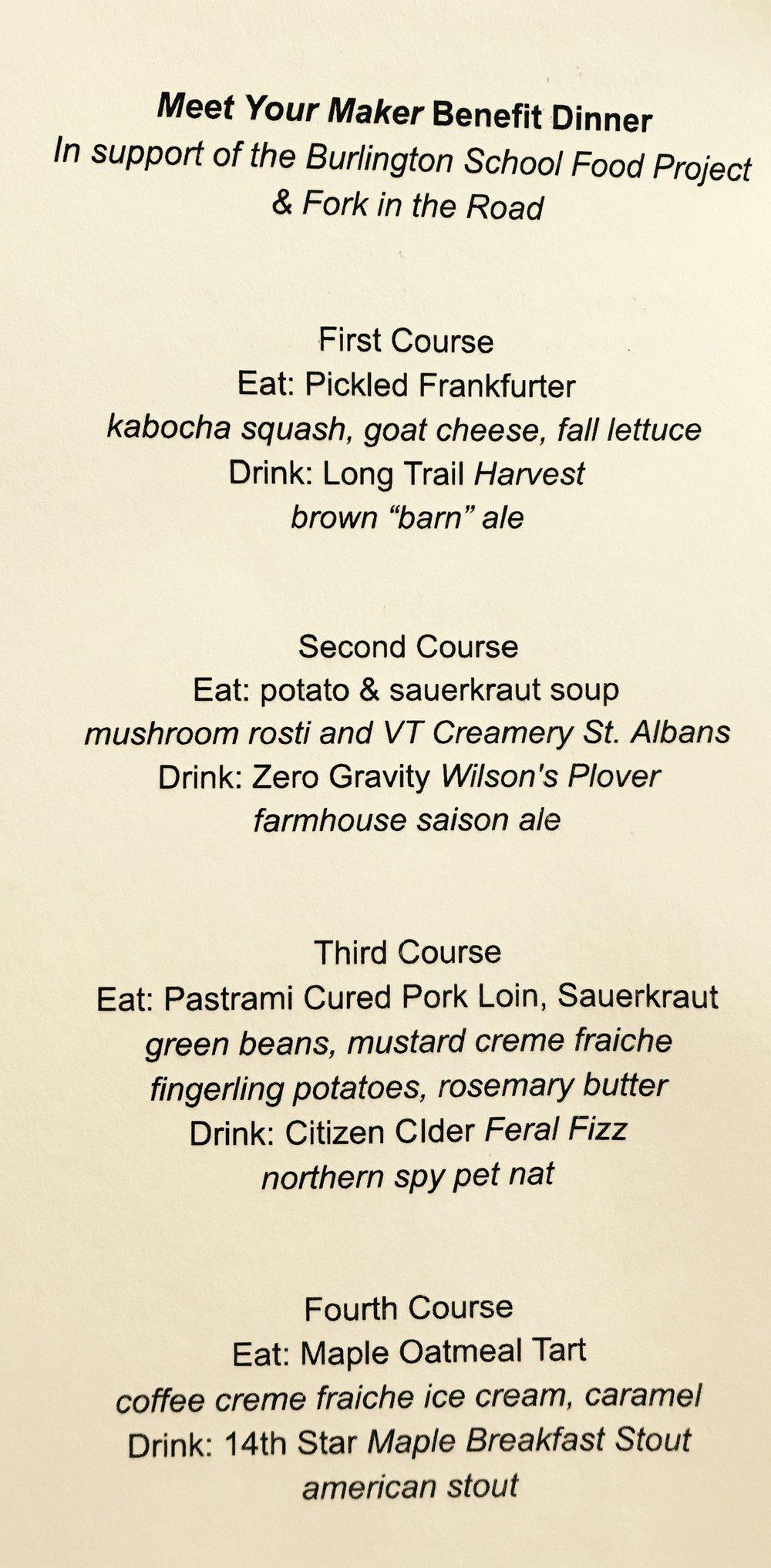 The Meet Your Maker Benefit dinner menu.
