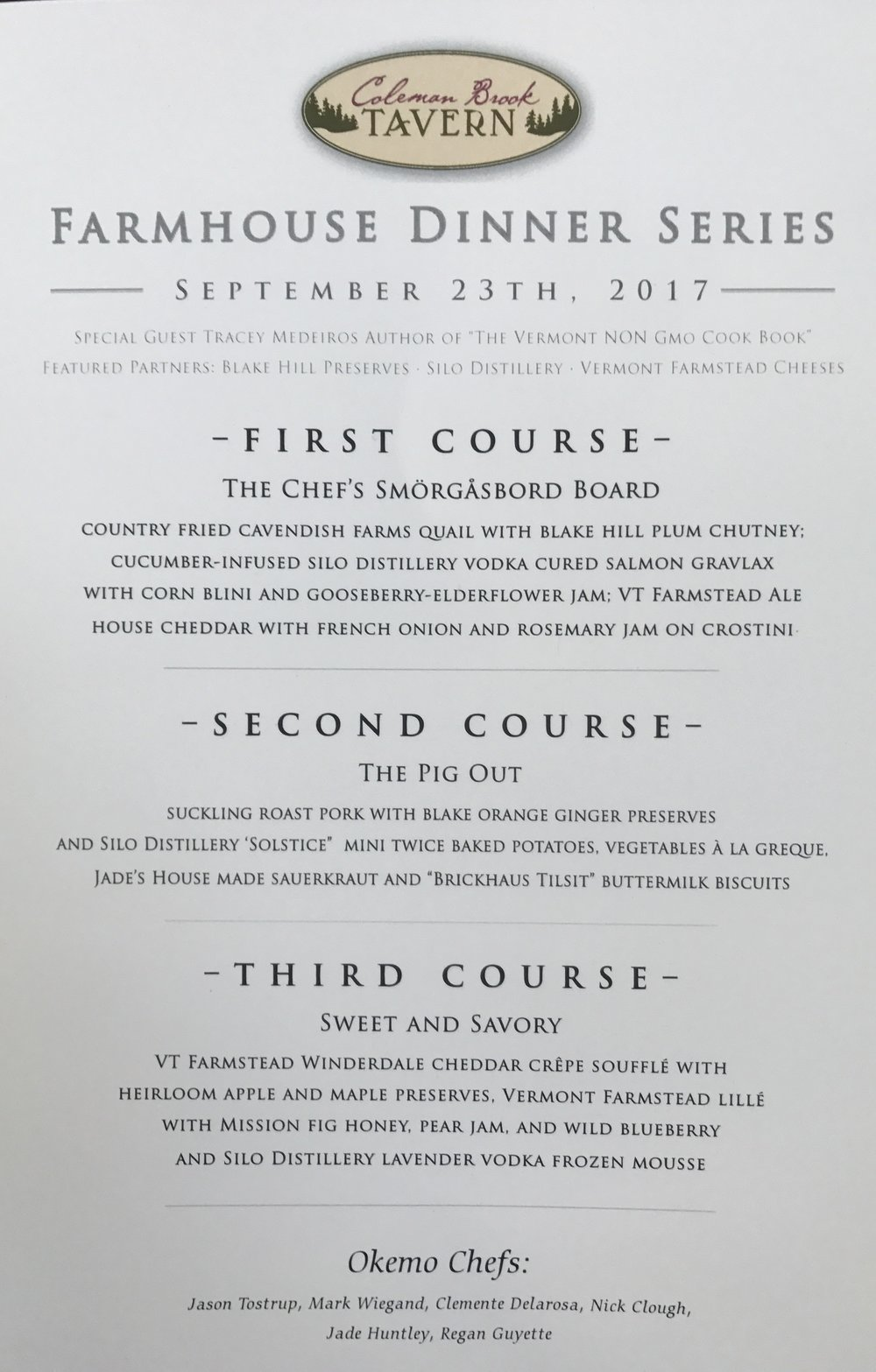 The menu from this scrumptious event!