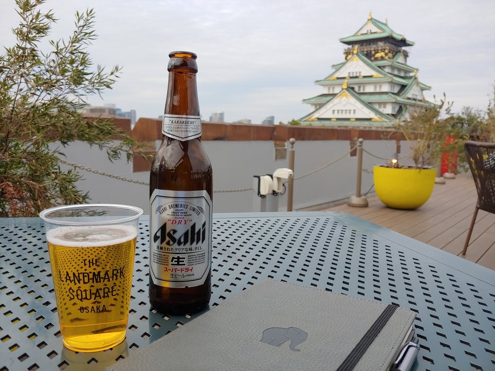 Osaka Castle and beer.jpg