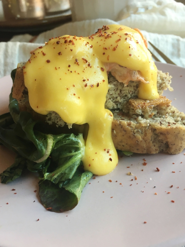 I've made my own hollandaise a couple times since beginning keto, it's super fun and totally delicious. New sauce in my bag of tricks, yay. This is the almond flour Keto Bread from    Elana's Pantry  .