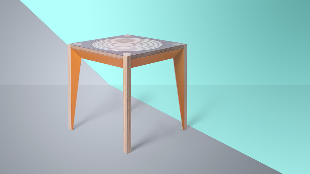 MiMi Wood Stool in Orange and Walnut
