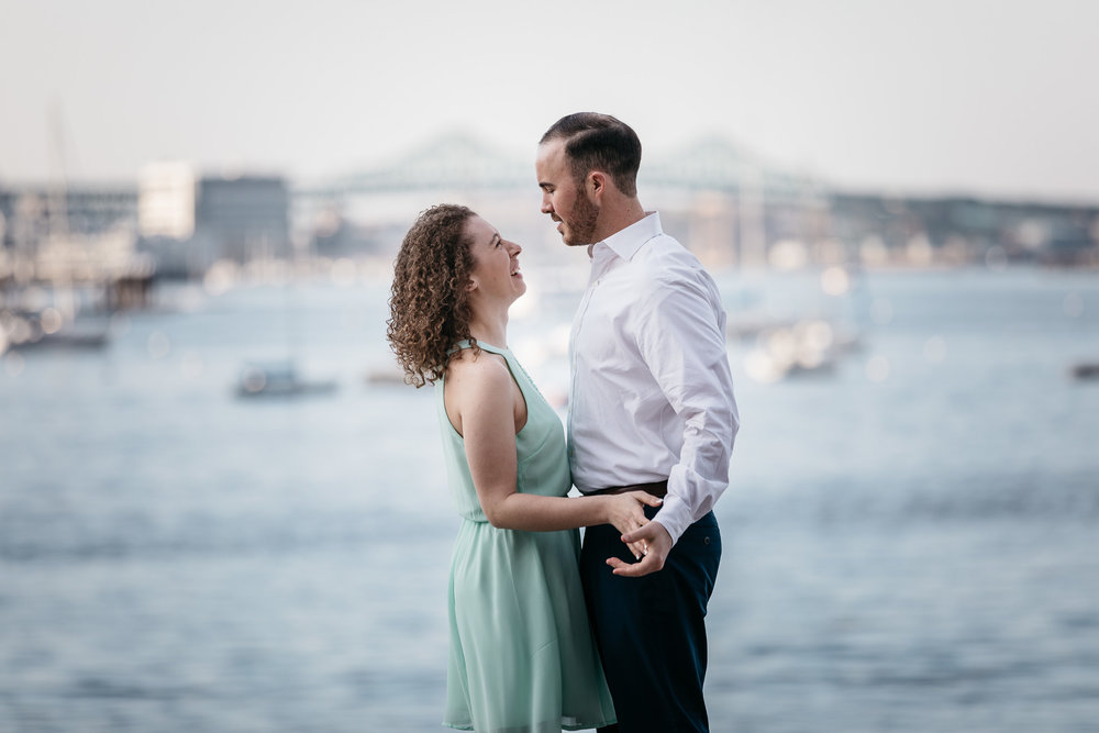 Charity and Garret Engagement Session, captured on Apr 28, 2018; at Fan Pier Park, in Boston, Massachusetts, by Aaron Collins Photography.