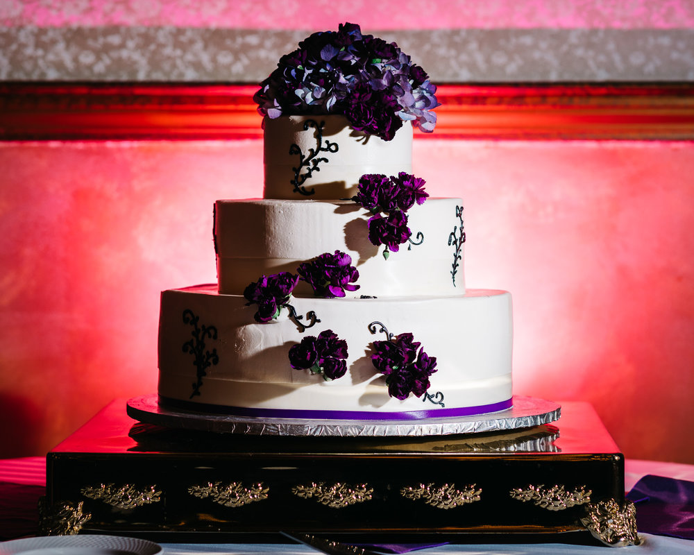 Wedding cake with interesting lighting