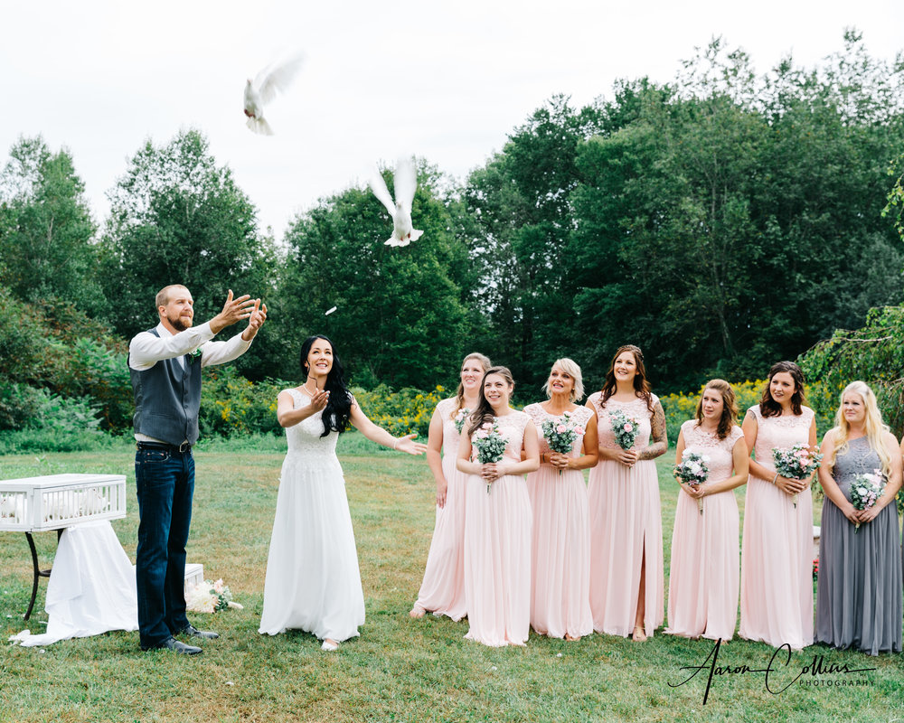 Doves being released by bride and groom.