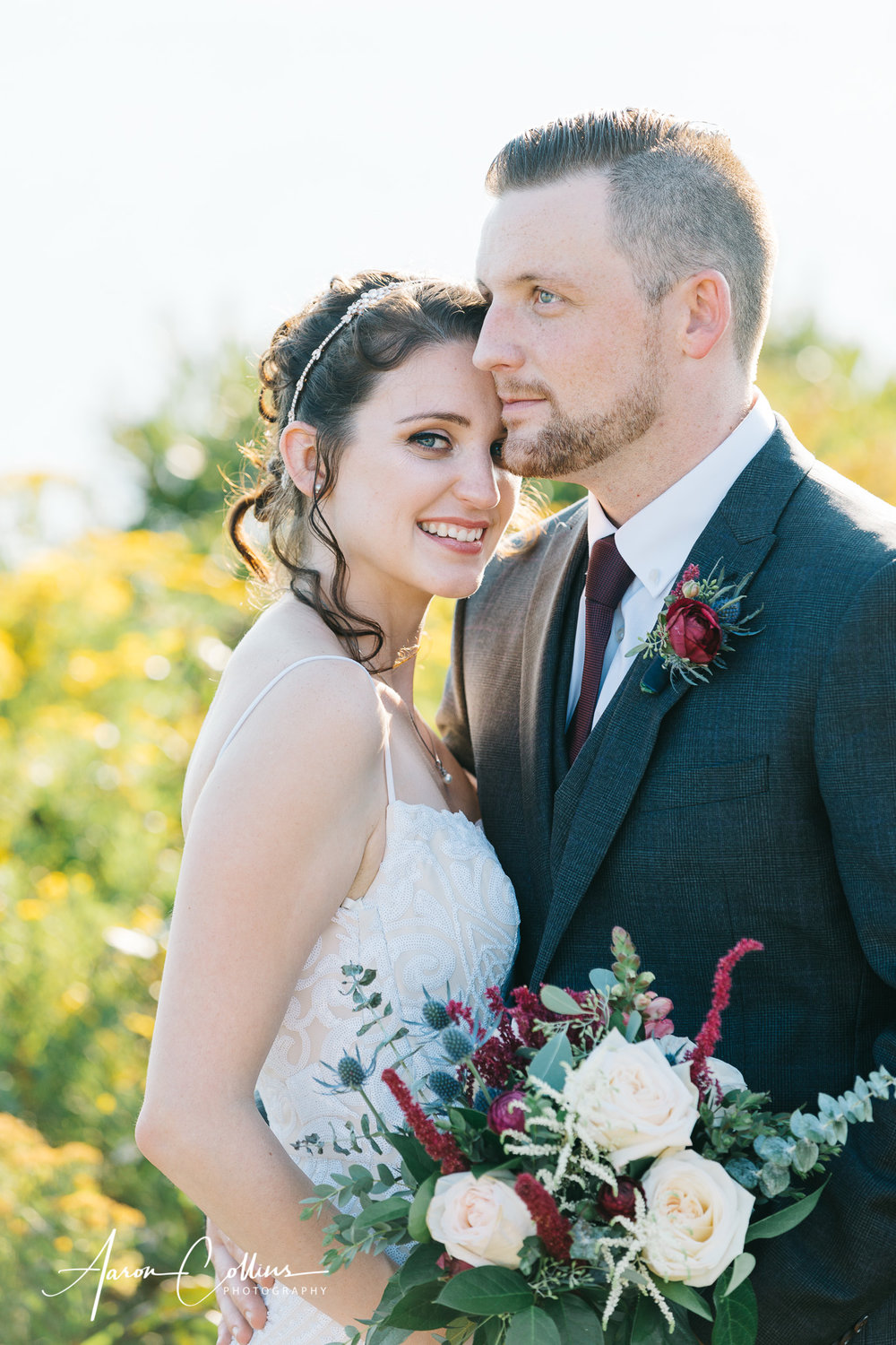 Portrait of Bride and Groom at Mohegan Bluffs on Block Island