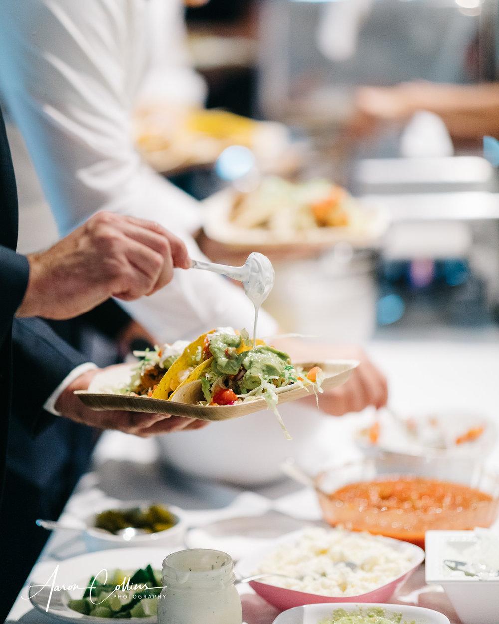 Taco bar from Kimberly's Block Island during the reception at BIMI