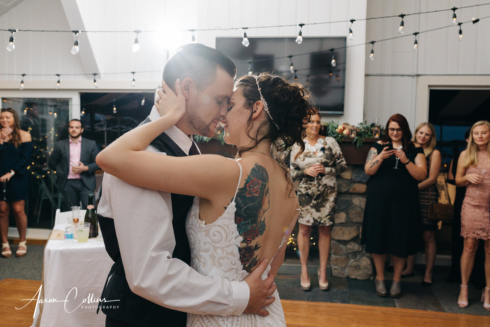 First dance of bride and groom at block island maritime institute.