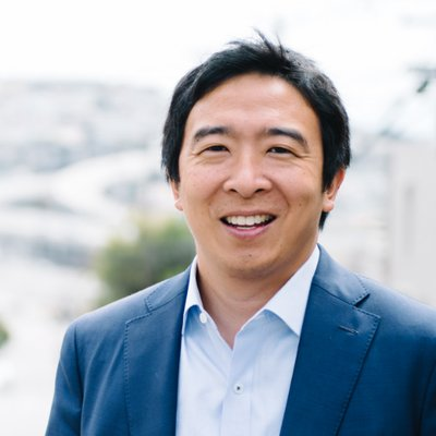 Andrew Yang's Twitter profile pic. He wants to give away free money.