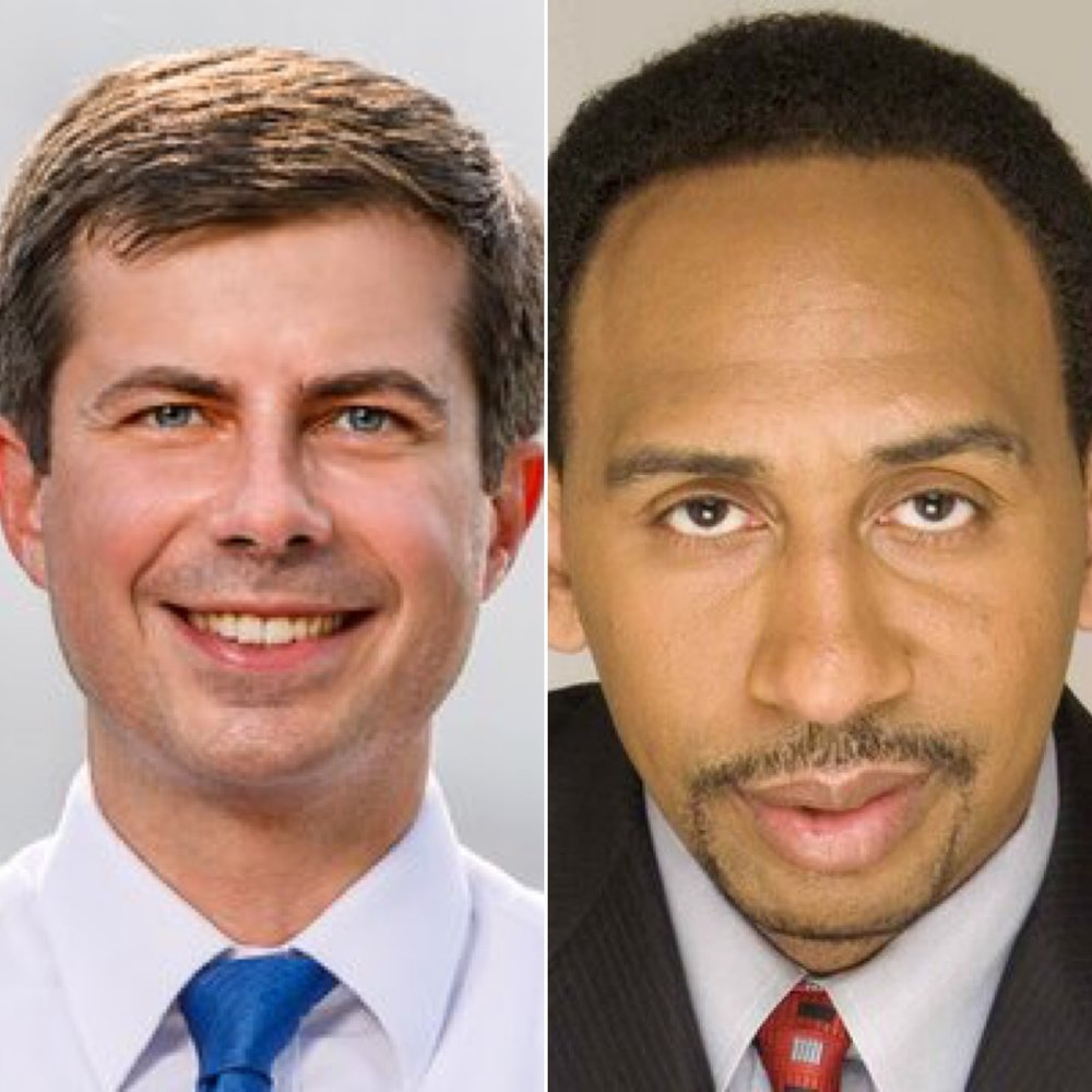 Twitter profile pics of  Pete Buttigieg  and of  Stephen A. Smith  (from unrelated stories)