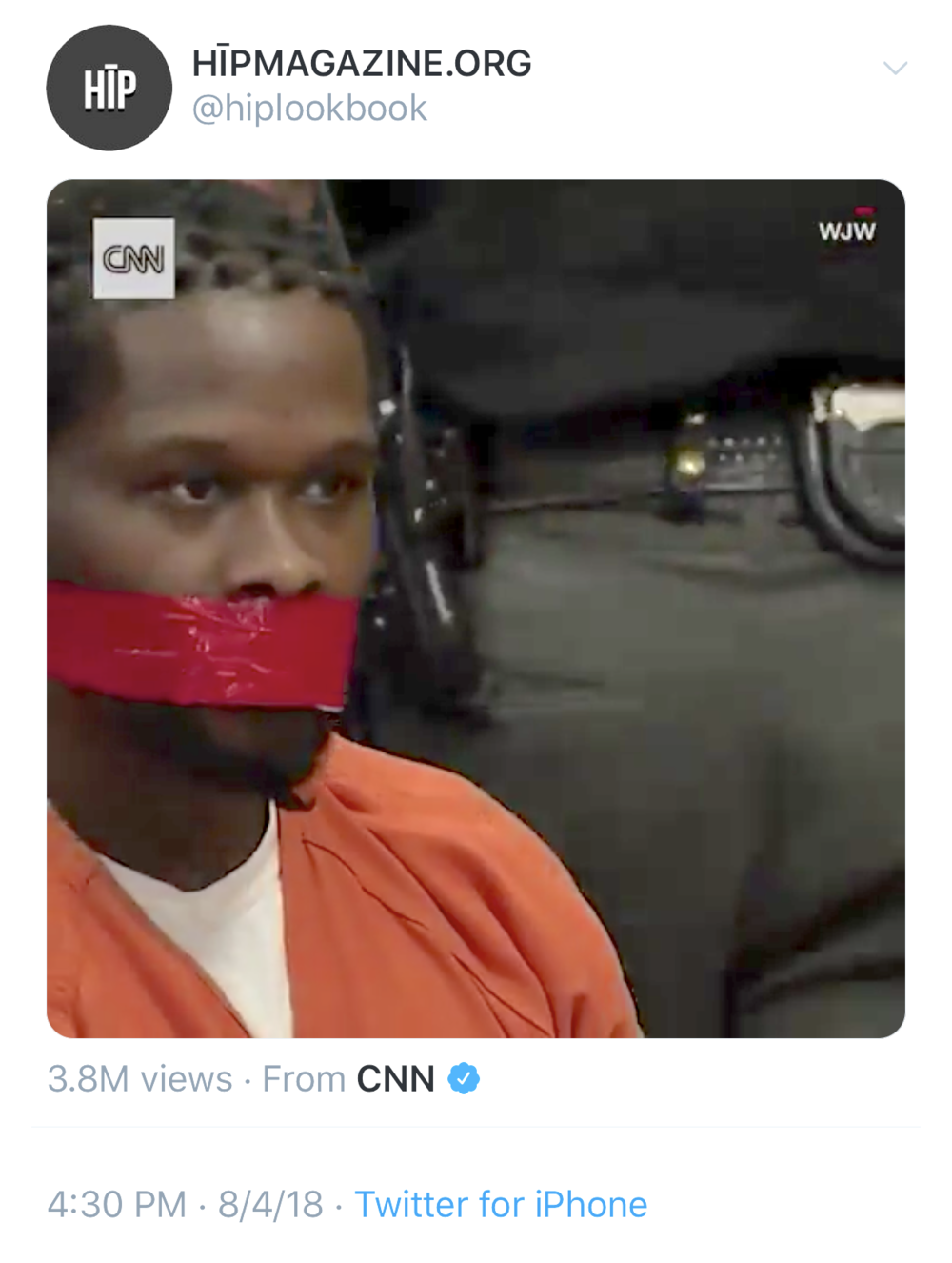 (Screenshot from  Twitter ) I shared and commented about  this CNN video  from last summer of a black criminal with tape over his mouth in a court room.