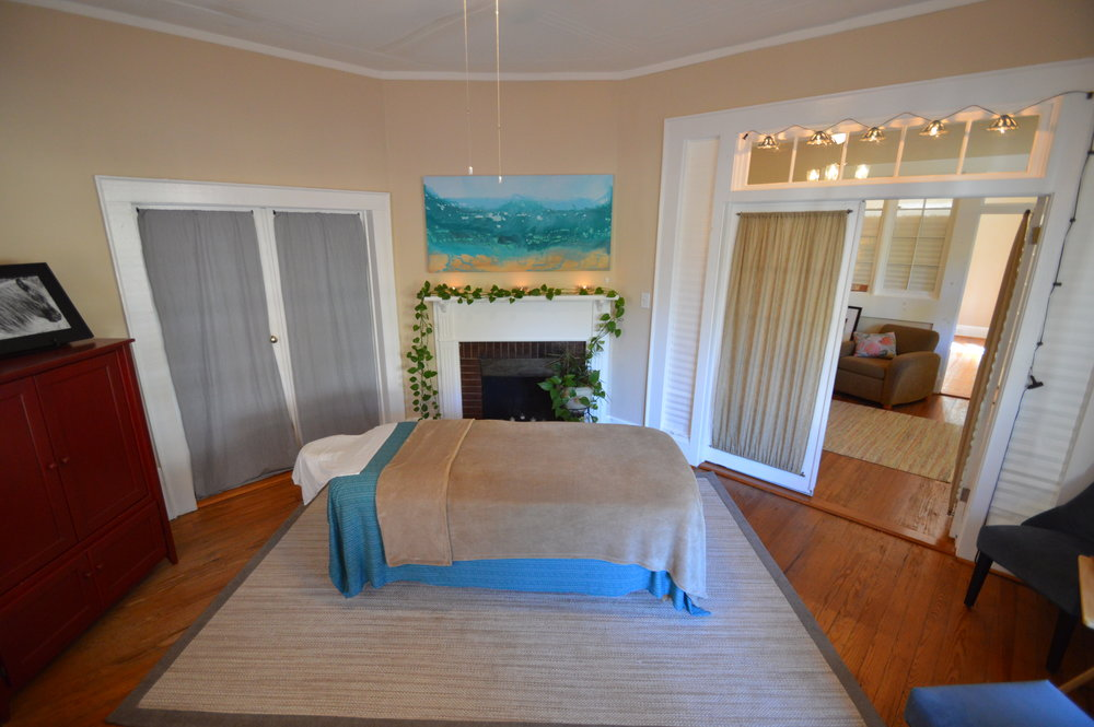 therapeutic massage treatment room at cedar walk wellness center, Hillsborough NC