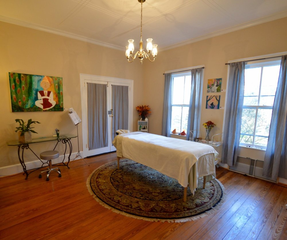 reiki and holistic energy healing treatment room, Hillsborough NC