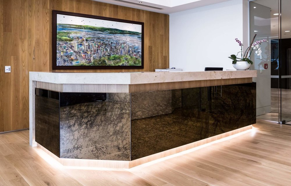 Reception Counter - Antique Glass