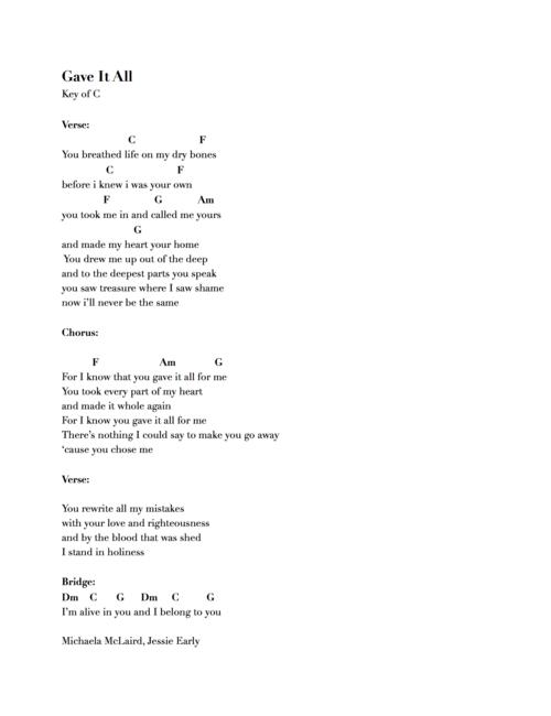 Chord Charts — Michaela Gentile