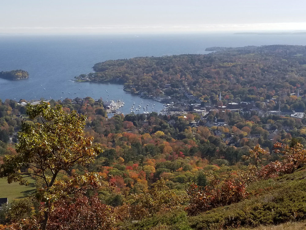 View of Downtown Camden from Mt. Battie in the Fall