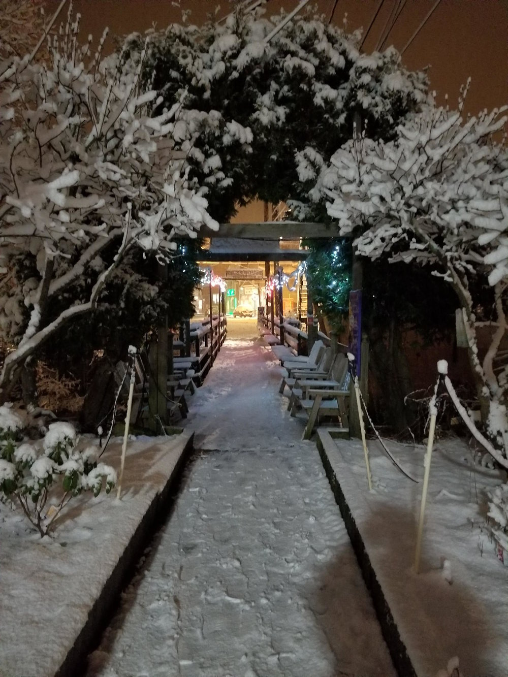 Snow covered archway at the River House