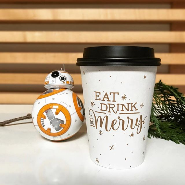 The brew is strong with this one. As I type, people are reuniting with my favorite droid and kickass female, Rey. For those doing a late night showing, make sure to fuel up with some caffeine. Need your coffee to go? We have holiday cups now available in packs of 12. DM me for details.