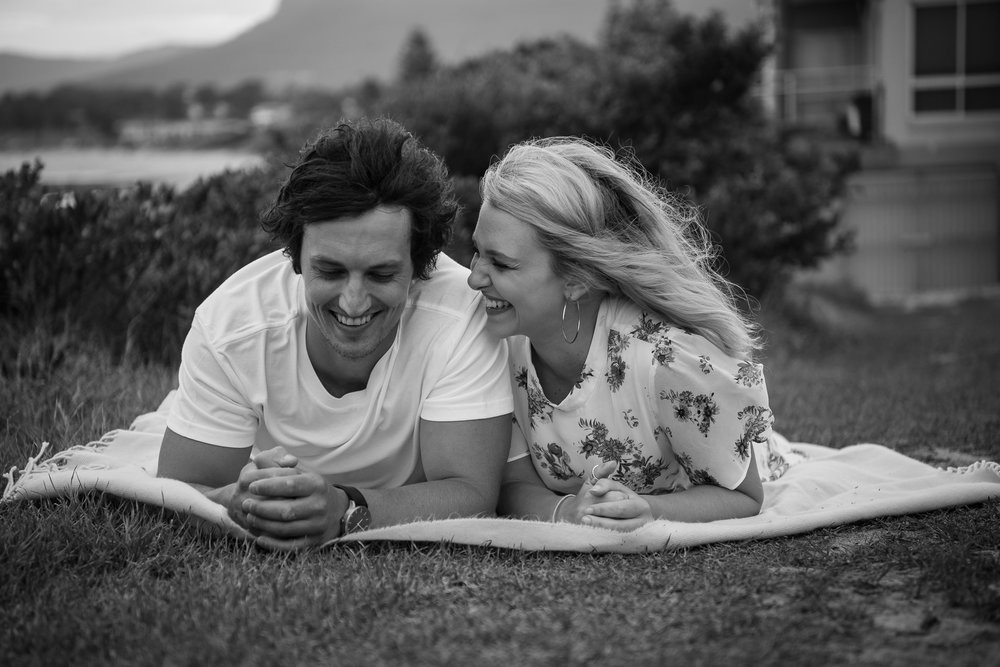 black and white engagement photo in sydney