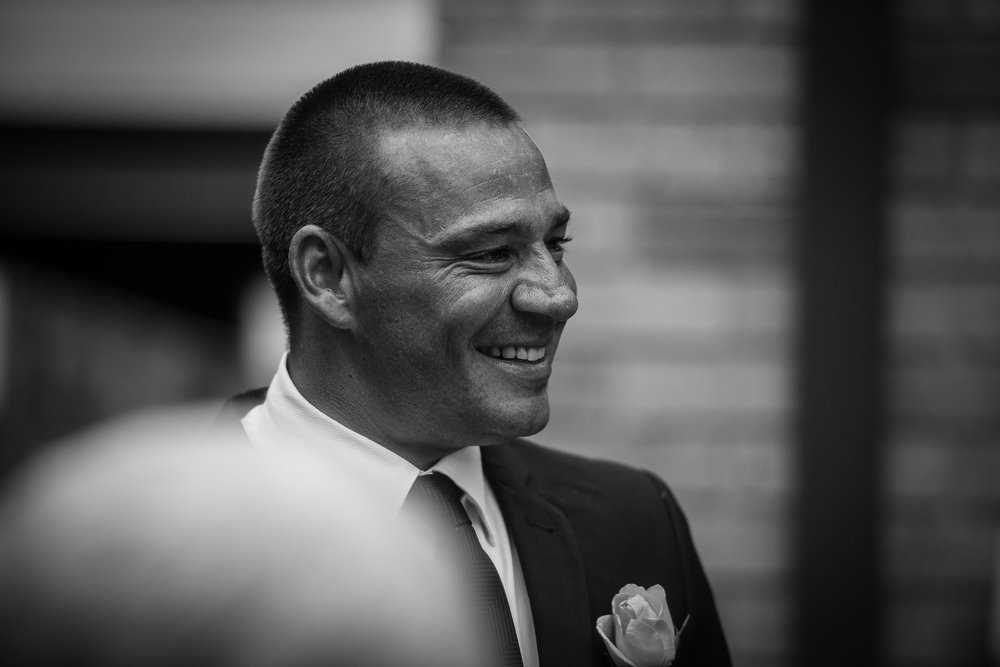black and white image of the groom by sydney wedding photographer