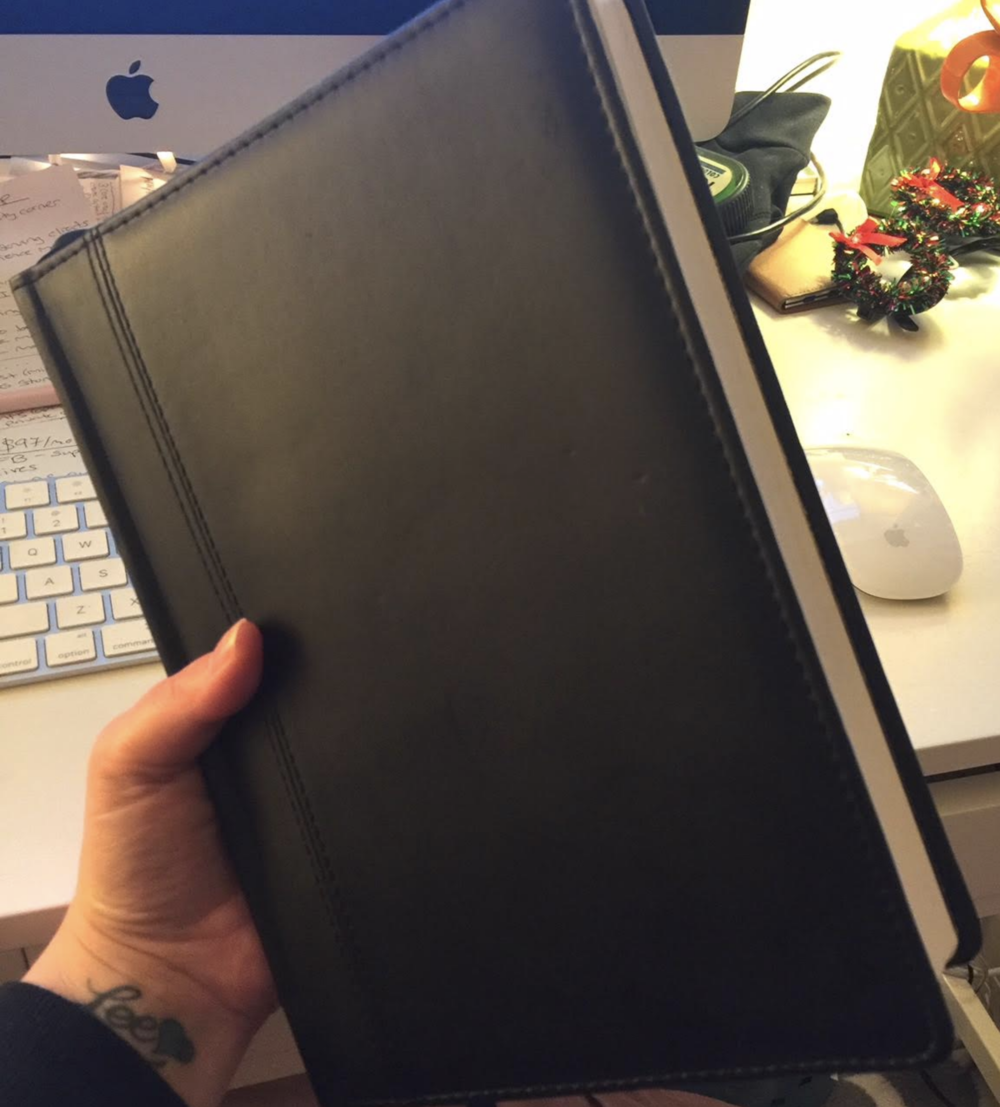 black leatherette journal
